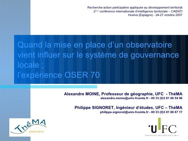 Quand la mise en place d'un observatoire vient influer sur le système de gouvernance locale ; l'expérience OSER 70 Alexand...