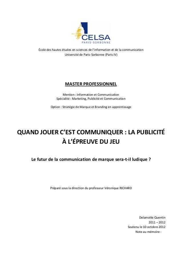École des hautes études en sciences de l'information et de la communication                          Université de Paris-S...