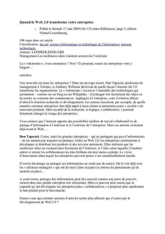 Quand le Web 2.0 transforme votre entreprise o Publié le Samedi 17 mai 2008 (No 115) dans Références, page 5, édition Namu...