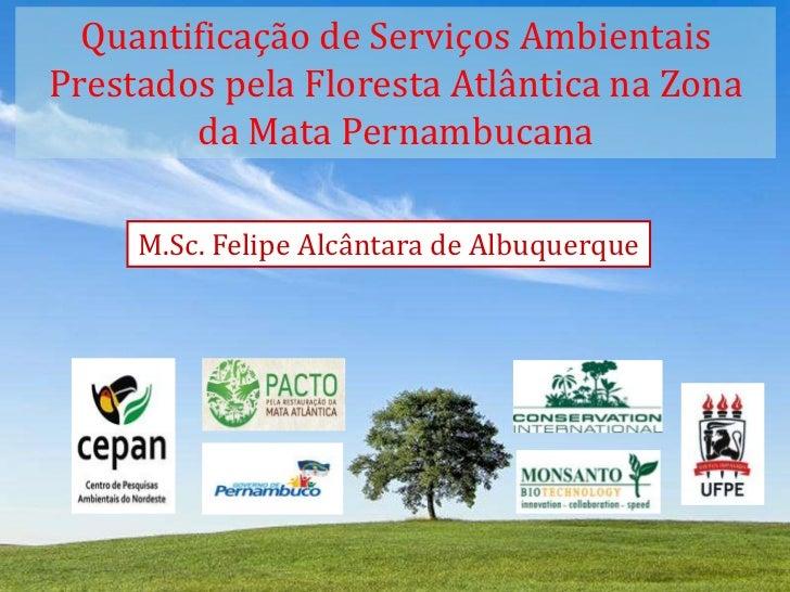 Quantificação de Serviços Ambientais Prestados pela Floresta Atlântica na Zona da Mata Pernambucana<br />M.Sc. Felipe Alcâ...