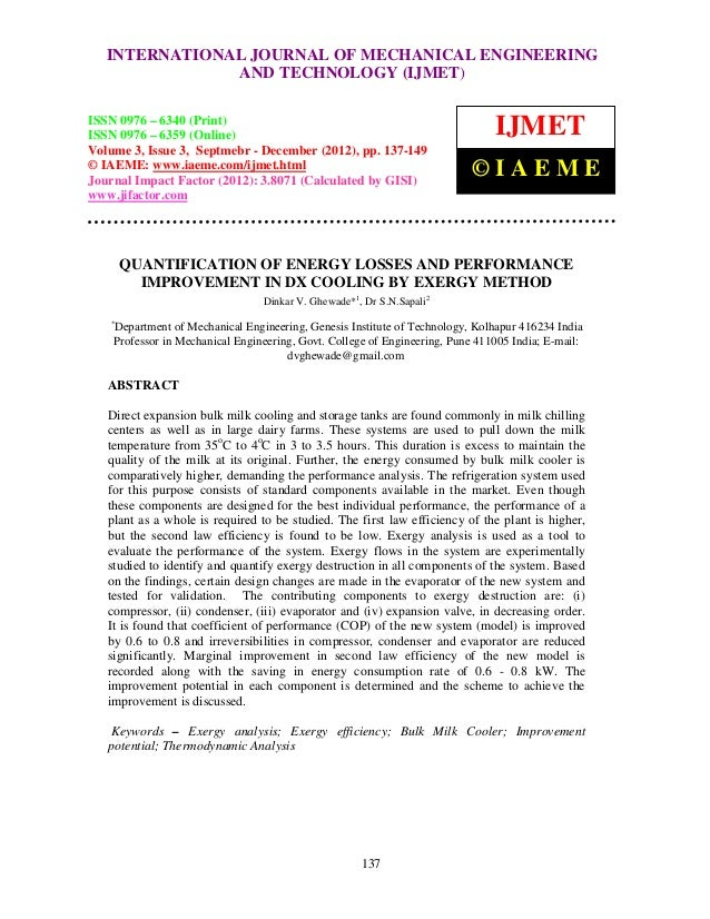 Quantification of energy losses and performance improvement in dx cooling by exergy method