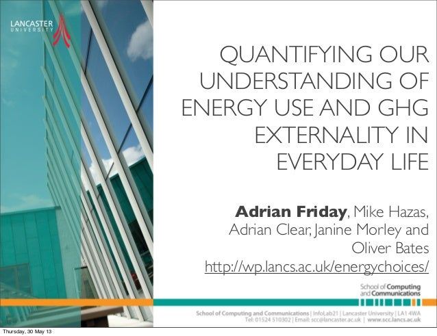 QUANTIFYING OURUNDERSTANDING OFENERGY USE AND GHGEXTERNALITY INEVERYDAY LIFEAdrian Friday, Mike Hazas,Adrian Clear, Janine...