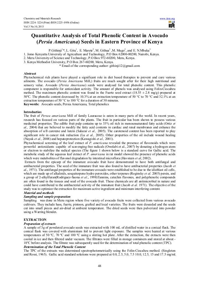 Chemistry and Materials Research ISSN 2224- 3224 (Print) ISSN 2225- 0956 (Online) Vol.3 No.10, 2013  www.iiste.org  Quanti...