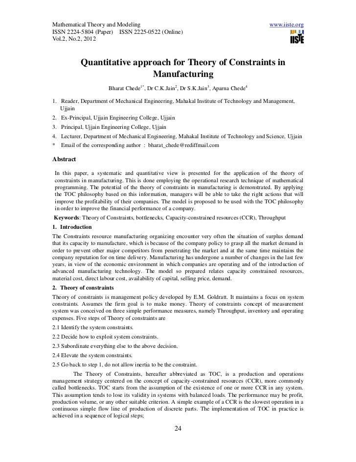 Quantitative approach for theory of constraints in manufacturing