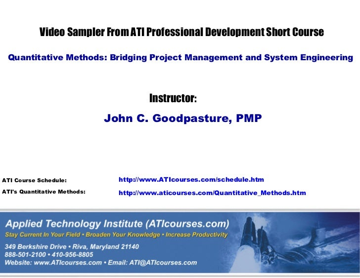 ATI's Quantitative Methods course: Bridging Project Management and System Engineering Technical Training Short Course