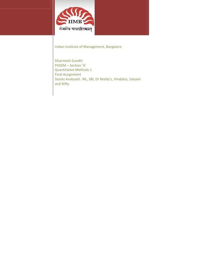 Quantitative Methods Project
