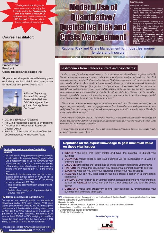 Rational Risk and Crisis Management for Industries, moneylenders and insurersUNI training courses are thoroughly researche...