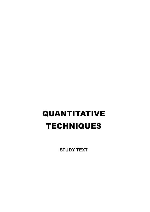 quantitative techniques STUDY TEXT
