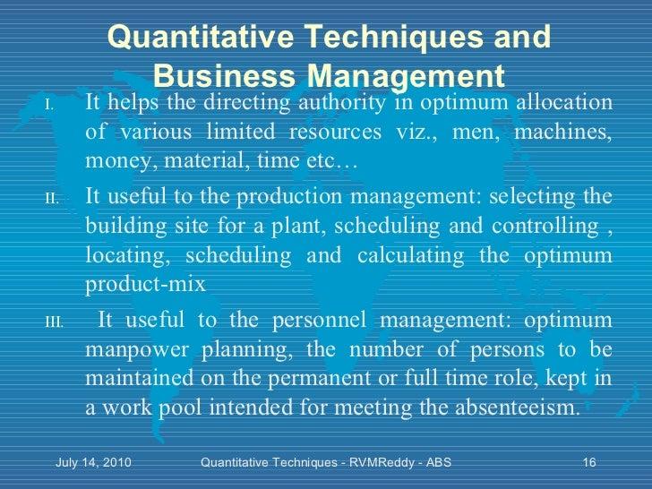 essay on the quantitative techniques of