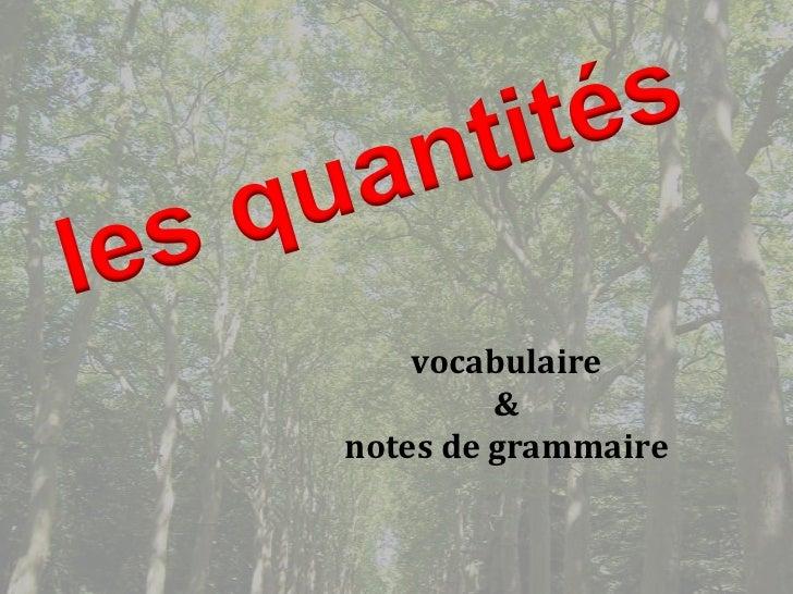 vocabulaire         &notes de grammaire