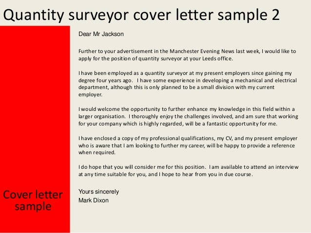 Quantity surveyor cv cover letter
