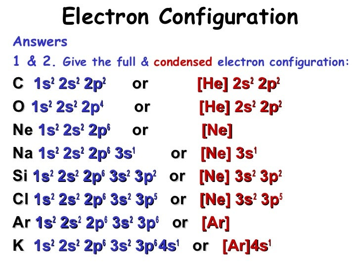 What is the correct electron configuration for K  Answerscom