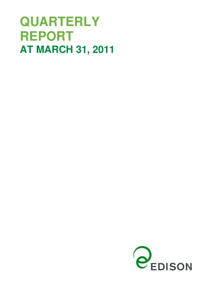 Quarterly Report 31March 2011