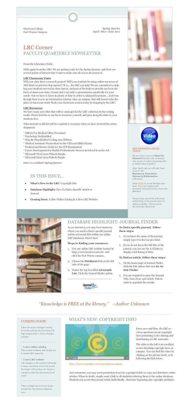 Quarterly Faculty Newsletter Spring 2011