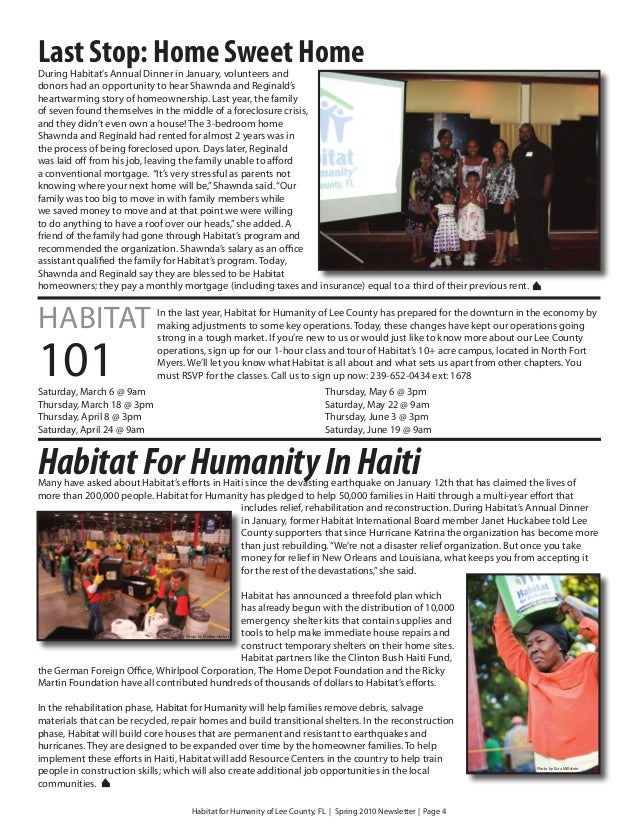 Last Stop: Home Sweet HomeDuring Habitat's Annual Dinner in January, volunteers anddonors had an opportunity to hear Shawn...