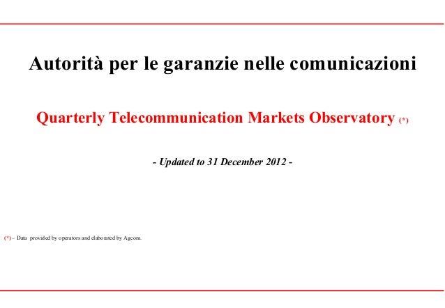 Autorità per le garanzie nelle comunicazioniQuarterly Telecommunication Markets Observatory (*)- Updated to 31 December 20...