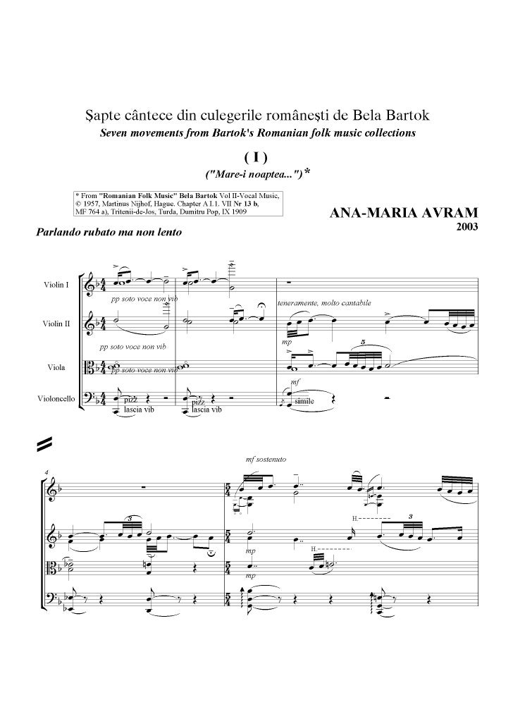 7 romanian folksons for string quartet