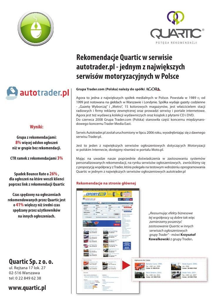 Rekomendacje Quartic w serwisie Autotrader.pl