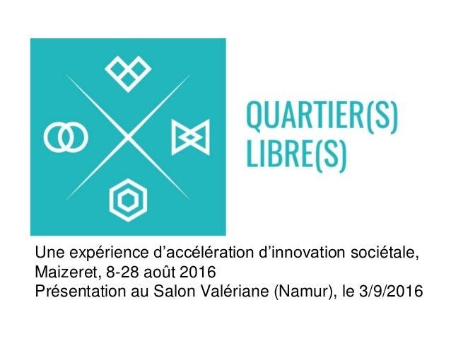 Une expérience d'accélération d'innovation sociétale, Maizeret, 8-28 août 2016 Présentation au Salon Valériane (Namur), le...