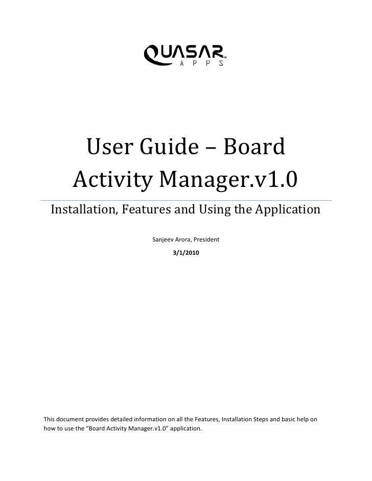 User Guide – Board           Activity Manager.v1.0   Installation, Features and Using the Application                     ...