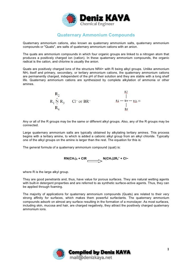 Quaternary Ammonium Compounds Quaternary ammonium cations, also known as quaternary ammonium salts, quaternary ammonium co...
