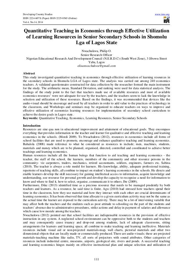 Developing Country Studies www.iiste.org ISSN 2224-607X (Paper) ISSN 2225-0565 (Online) Vol.4, No.14, 2014 111 Quantitativ...