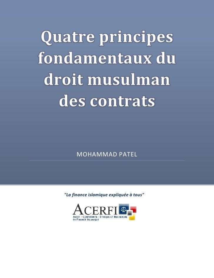 """MOHAMMAD PATEL     """"La finance islamique expliquée à tous"""""""