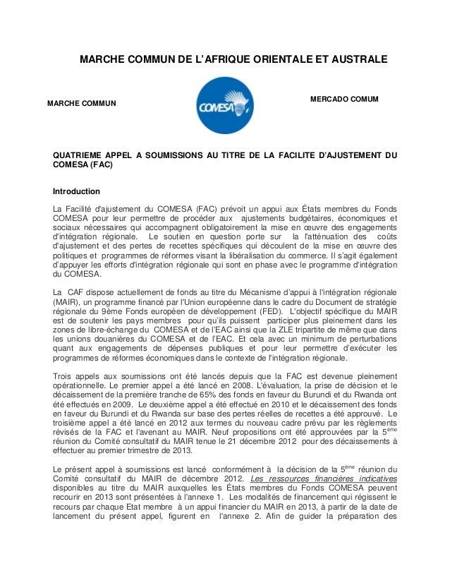 MARCHE COMMUN DE L'AFRIQUE ORIENTALE ET AUSTRALE QUATRIEME APPEL A SOUMISSIONS AU TITRE DE LA FACILITE D'AJUSTEMENT DU COM...
