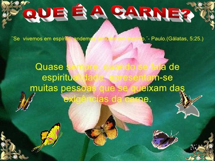QUE É A CARNE? ¨Se  vivemos em espírito, andemos também em espírito.¨- Paulo.(Gálatas, 5:25.) Quase sempre, quando se fala...