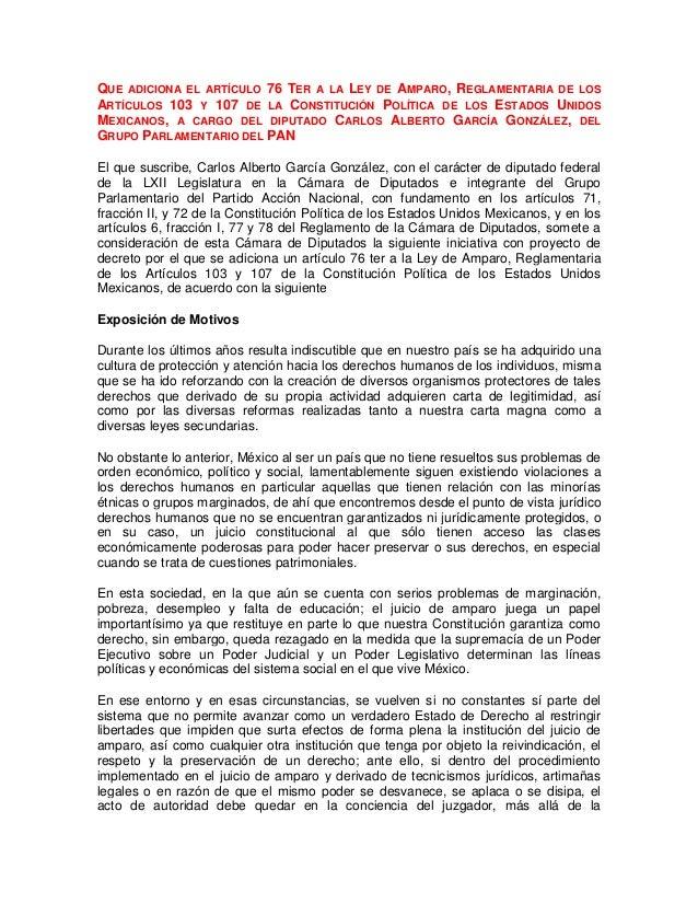 QUE ADICIONA EL ARTÍCULO 76 TER A LA LEY DE AMPARO, REGLAMENTARIA DE LOSARTÍCULOS 103 Y 107 DE LA CONSTITUCIÓN POLÍTICA DE...