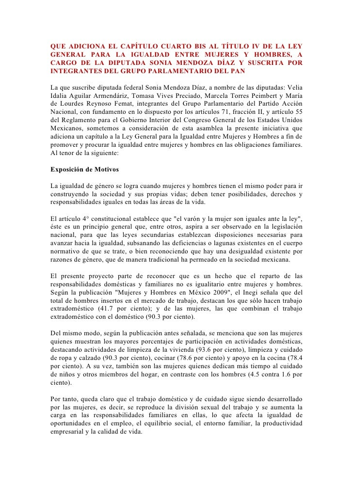 QUE ADICIONA EL CAPÍTULO CUARTO BIS AL TÍTULO IV DE LA LEY GENERAL PARA LA IGUALDAD ENTRE MUJERES Y HOMBRES, A CARGO DE LA...