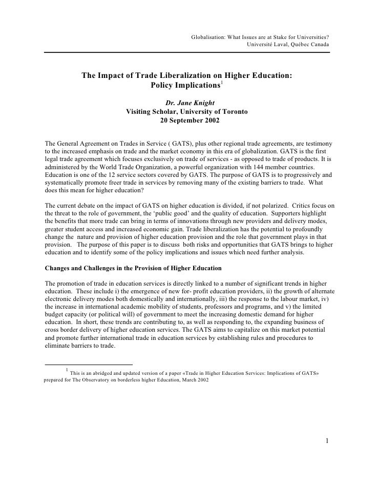 Globalisation: What Issues are at Stake for Universities?                                                                 ...