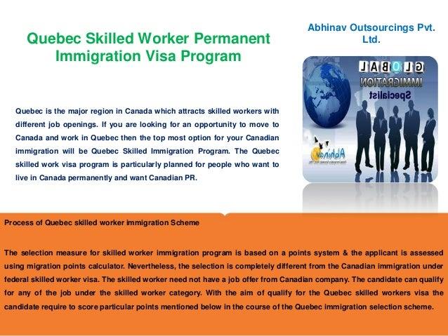 Quebec skilled worker permanent immigration visa program