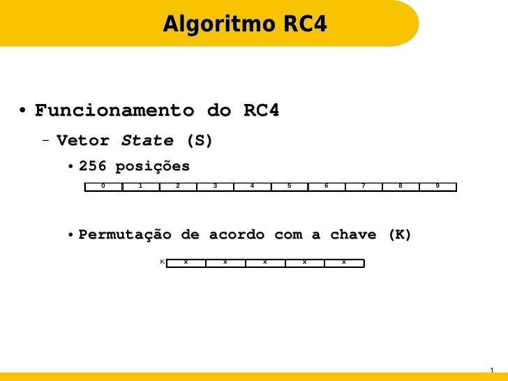 Algoritmo RC4●   Funcionamento do RC4    –   Vetor State (S)         ●   256 posições               0   1       2       3 ...