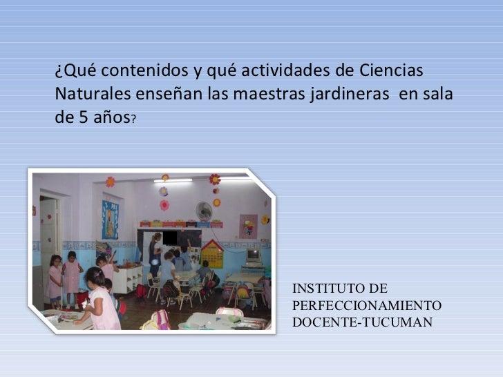 INSTITUTO DE PERFECCIONAMIENTO DOCENTE-TUCUMAN ¿Qué contenidos y qué actividades de Ciencias Naturales enseñan las maestra...