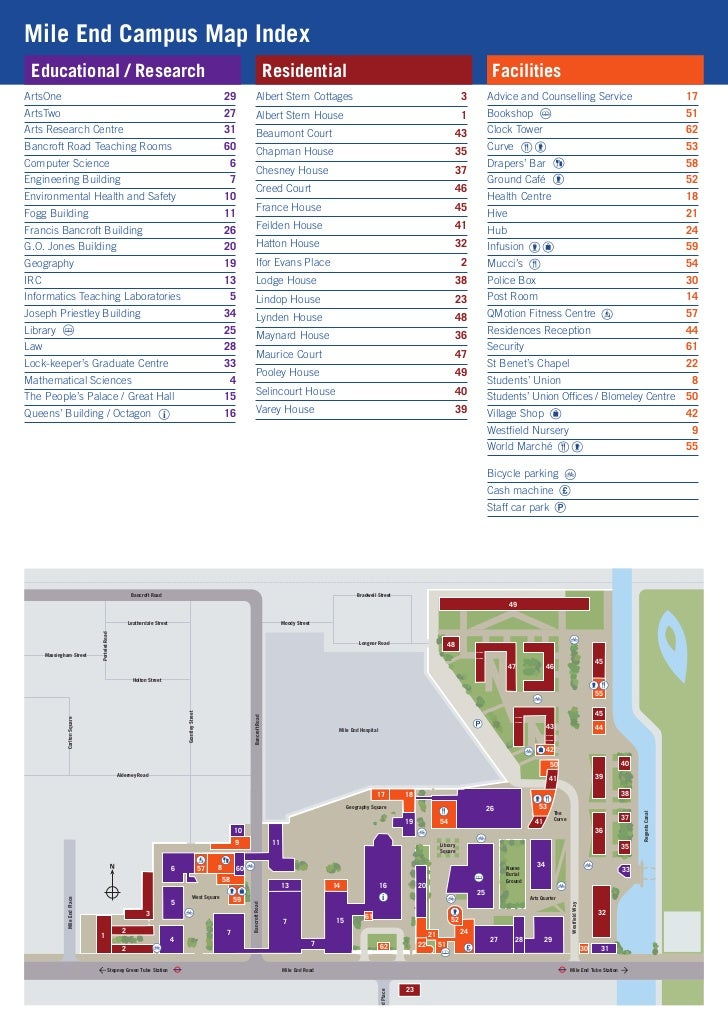 Mile End Campus Map Index Educational / Research                                                                          ...
