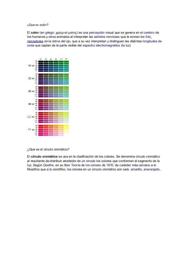 ¿Que es color?El color (en griego: χρώμ-α/-ματος) es una percepción visual que se genera en el cerebro delos humanos y otr...