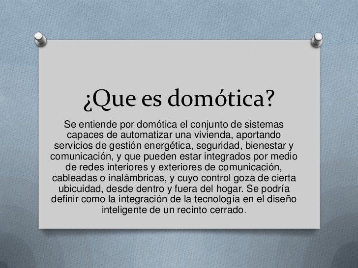 Que es domótica