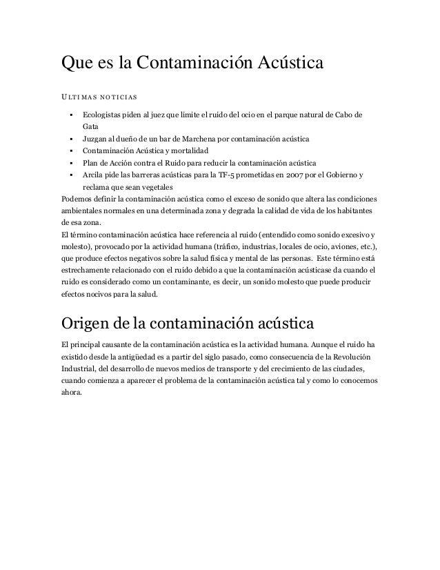 Que es la Contaminación Acústica ULTIMAS NOTICIAS   Ecologistas piden al juez que limite el ruido del ocio en el parque n...