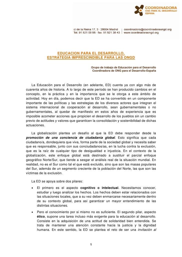 EDUCACION PARA EL DESARROLLO,               ESTRATEGIA IMPRESCINDIBLE PARA LAS ONGD                                       ...