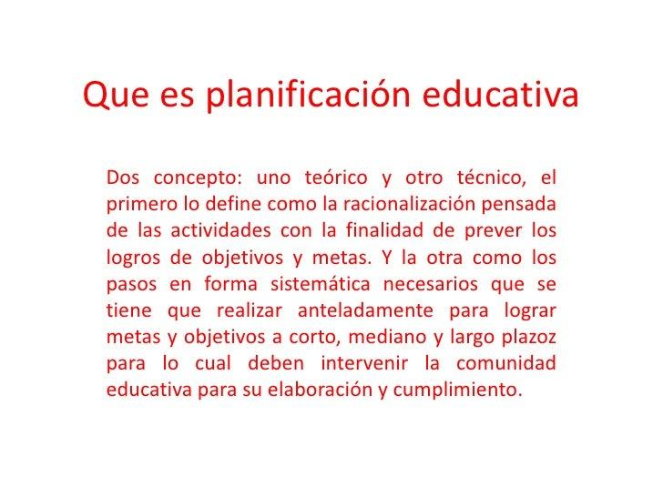 Que Es PlanificacióN Educativa