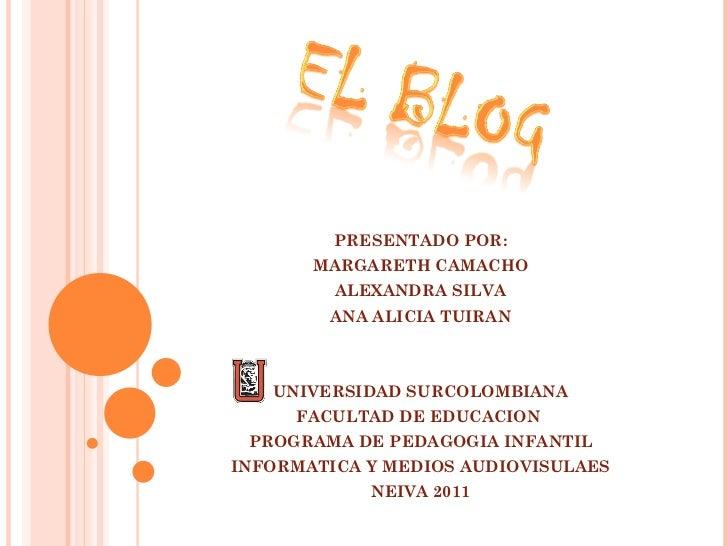 PRESENTADO POR: MARGARETH CAMACHO ALEXANDRA SILVA ANA ALICIA TUIRAN UNIVERSIDAD SURCOLOMBIANA FACULTAD DE EDUCACION  PROGR...