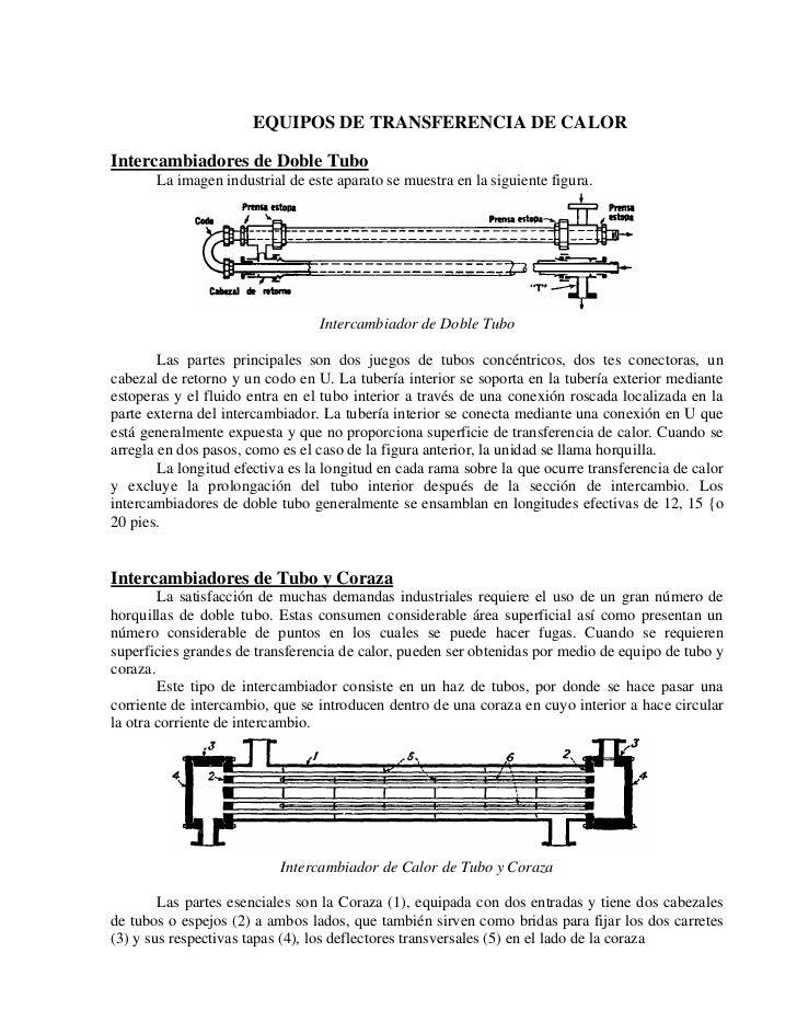EQUIPOS DE TRANSFERENCIA DE CALORIntercambiadores de Doble Tubo       La imagen industrial de este aparato se muestra en l...