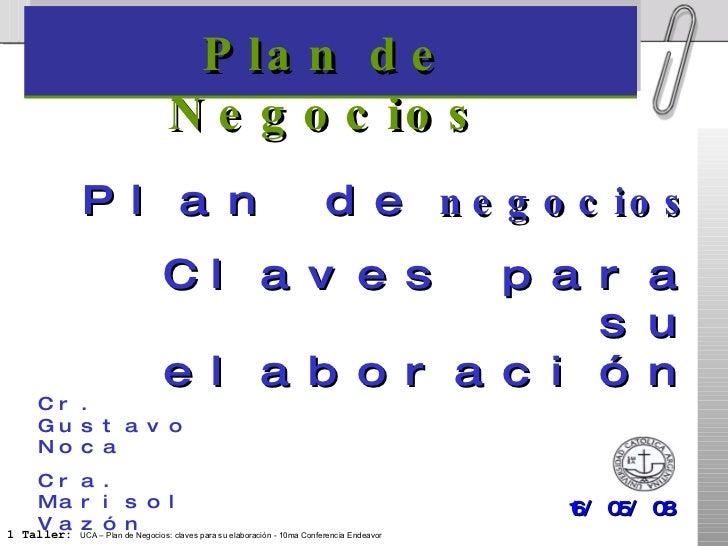 Plan de Negocios 16/05/08 Cr. Gustavo Noca Cra. Marisol Vazón Plan de  negocios Claves para su elaboración