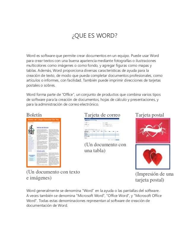 ¿QUE ES WORD? Word es software que permite crear documentos en un equipo. Puede usar Word para crear textos con una buena ...