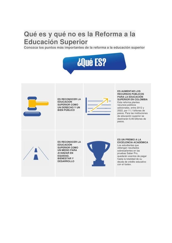 Qué es y qué no es la Reforma a laEducación SuperiorConozca los puntos más importantes de la reforma a la educación superi...