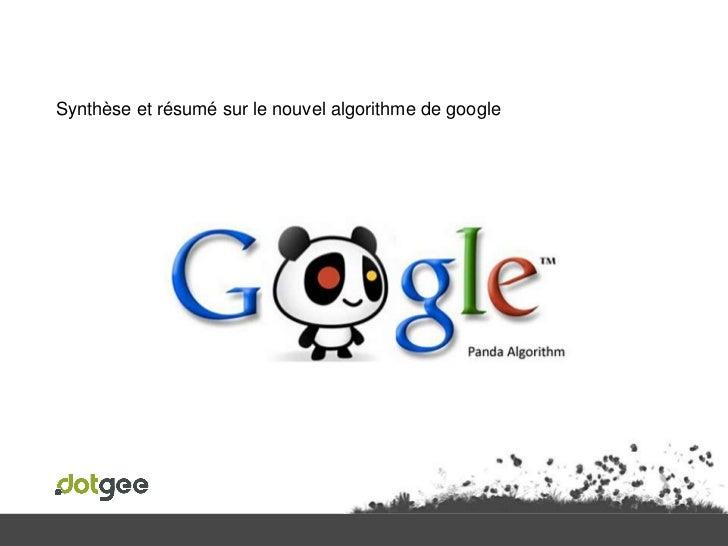 Synthèse et résumé sur le nouvel algorithme de google<br />