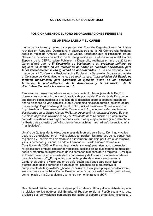 QUE LA INDIGNACION NOS MOVILICE!  POSICIONAMIENTO DEL FORO DE ORGANIZACIONES FEMINISTAS DE AMÉRICA LATINA Y EL CARIBE Las ...