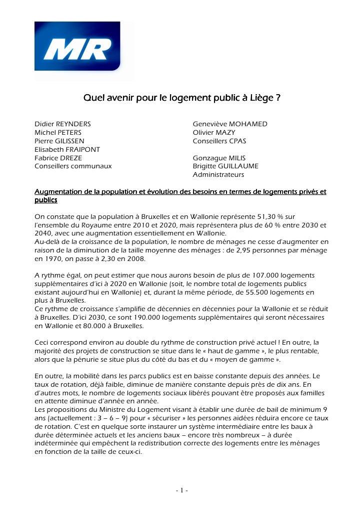 Quel avenir pour le logement public à Liège ?Didier REYNDERS                                   Geneviève MOHAMEDMichel PET...