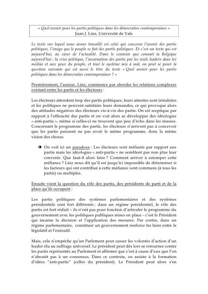 «Quel avenir pour les partis politiques dans les démocraties contemporaines» <br />Juan J. Linz, Université de Yale<br /...